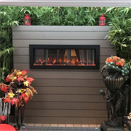 View a large image of the Touchstone Sideline Outdoor Wall Mounted Electric Fireplace Black 80017 here.