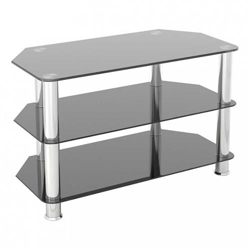 View a large image of the AVF SDC Series Black Glass 42 inch Corner TV Stand Chrome SDC800-A here.