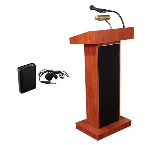 View a large image of the Oklahoma Sound Orator Lectern with Clip-On Mic (Cherry) 800X-CH/LWM-6 here.