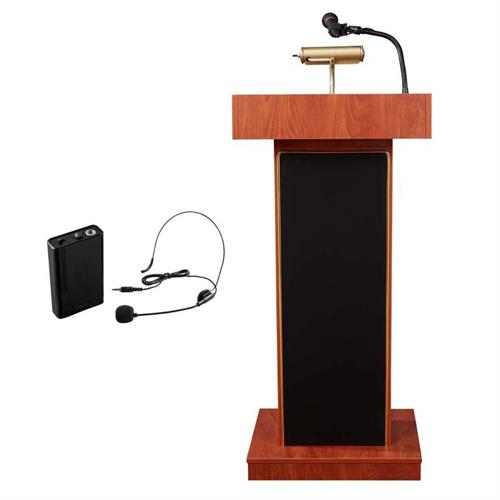 View a large image of the Oklahoma Sound Orator Lectern with Headset Mic (Cherry) 800X-CH/LWM-7 here.