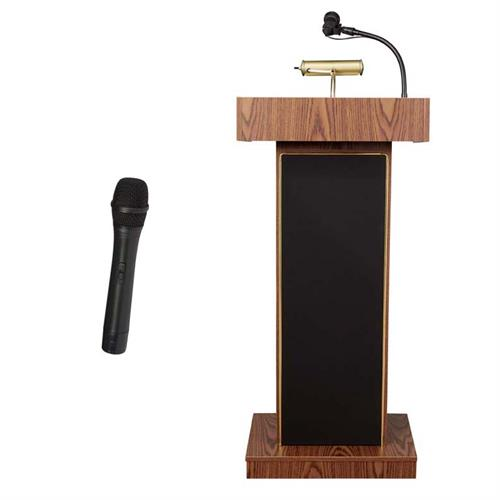 View a large image of the Oklahoma Sound Orator Lectern with Wireless Mic (Oak) 800X-MO/LWM-5 here.