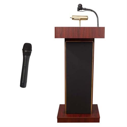 View a large image of the Oklahoma Sound Orator Lectern with Wireless Mic (Mahogany) 800X-MY/LWM-5 here.