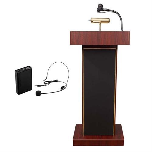 View a large image of the Oklahoma Sound Orator Lectern with Headset Mic (Mahogany) 800X-MY/LWM-7 here.