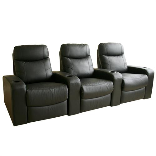 View a large image of the Wholesale Interiors Set of Three Cannes Home Theater Seats Black 8326-BLACK-3seats here.