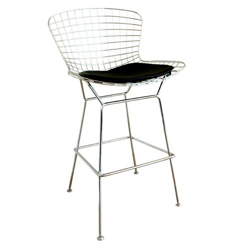 View a large image of the Wholesale Interiors Bertoia Style Wire Barstool Chrome 8340 here.