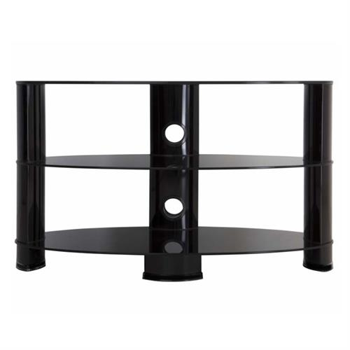 View a large image of the AVF Oval Black Glass 42 inch TV Stand Glossy Black OVL850BB-A here.
