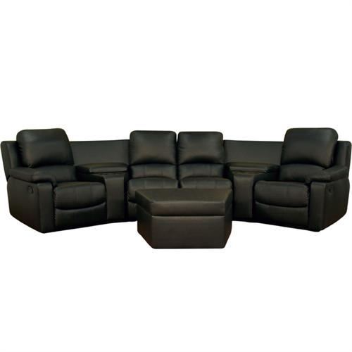 View a larger image of the Wholesale Interiors Four Seat Curved Leather Home Theater Sectional (Black) 8802-BLACK-7PC.