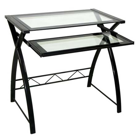 View a large image of the Bello Glass Computer Desk with Curved Sides High Gloss Black CD8855 here.