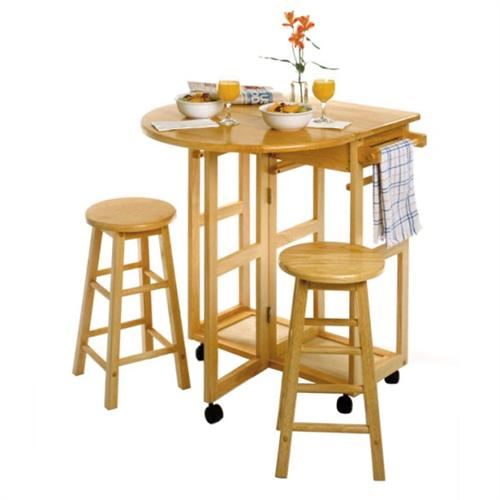 View a large image of the Winsome Wood Space-Saver Drop-Leaf Breakfast Bar with Two Round Stools 89332 here.