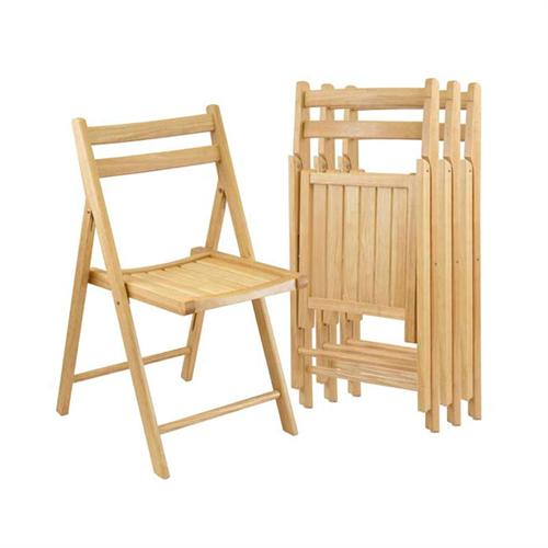 View a large image of the Winsome Wood Folding Chairs Qty 4 Natural Finish 89430 here.
