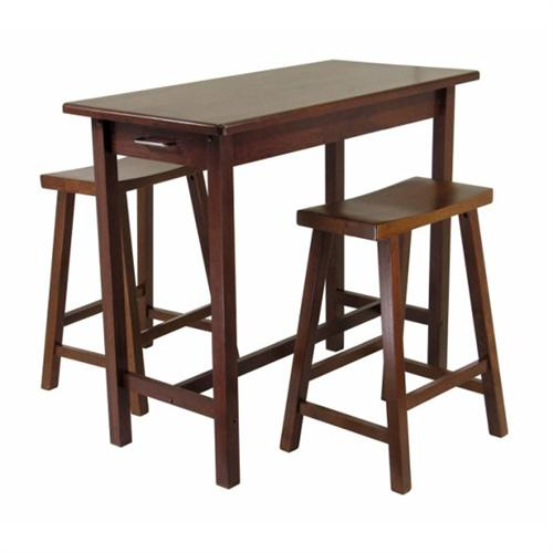 View a large image of the Winsome Wood Kitchen Island with 2 Saddle Seat Stools Antique Walnut 94344 here.