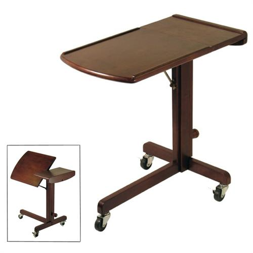 View a large image of the Winsome Wood Adjustable Laptop Cart Antique Walnut 94423 here.