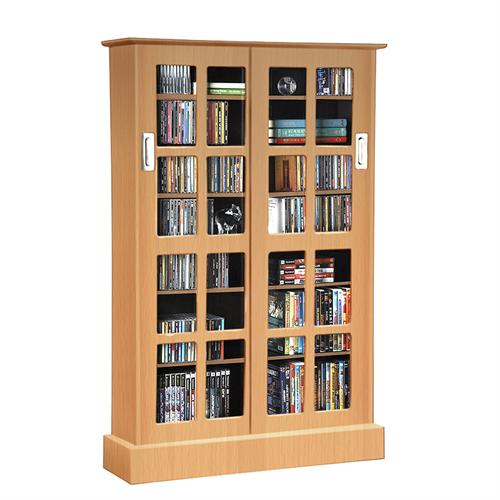View a large image of the Atlantic Windowpane Sliding Glass Media Cabinet for 216 Blu-rays or 576 CDs Maple 94835722 here.
