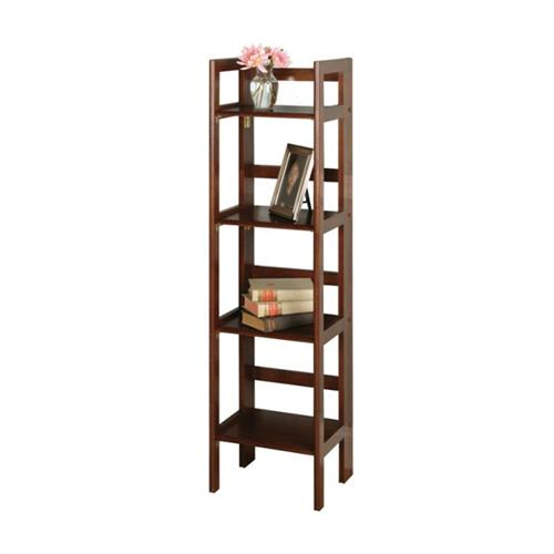 View a large image of the Winsome Wood 4 Tier Folding Shelf Walnut Finish 94852 here.