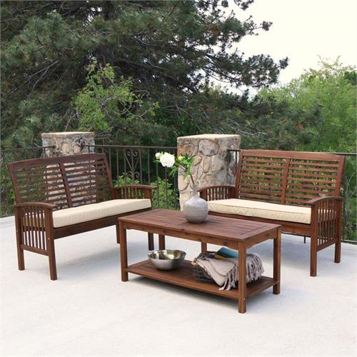 View a large image of the Walker Edison 3 Piece Acacia Wood Patio Conversation Set Dark Brown OW3SDB-2LST here.
