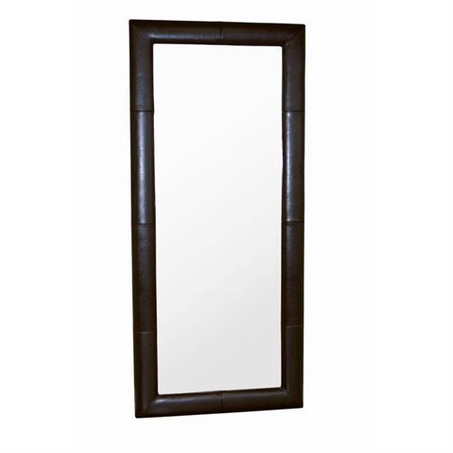 View a larger image of the Wholesale Interiors Floor Mirror with Bycast Leather Frame (Brown) A-61-1-J001-DARK BROWN.