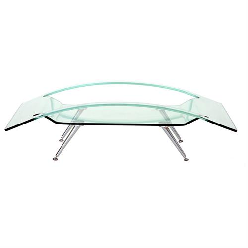 View a large image of the TransDeco Clear Bend Glass Coffee Table AC-5631A here.