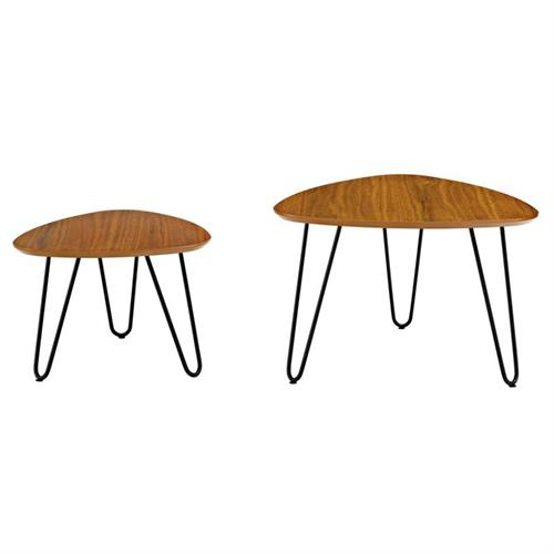 View a large image of the Walker Edison Set of Two Hairpin Leg Coffee Tables Walnut AF24HPNCWT here.