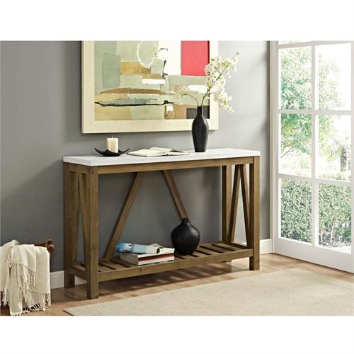 View a large image of the Walker Edison Rustic Walnut and Faux Marble Entryway Table AF52AFTMNW here.