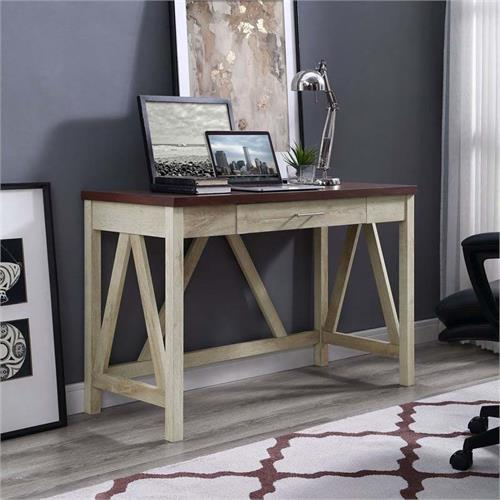 View a large image of the Walker Edison Rustic Modern Farmhouse Desk 2 Tone Finish DW46AFTB here.