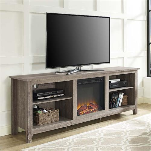 View a large image of the Walker Edison 70 inch TV Stand with Electric Fireplace Driftwood W70FP18AG here.