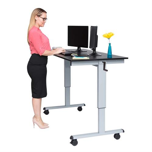 View a large image of the Luxor Adjustable Height Stand Up Desk Silver and Black STANDCF48-AG BO here.