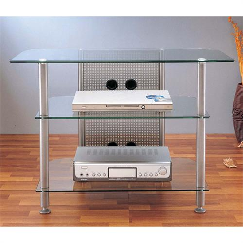 View a large image of the VTI AGR Series 37 inch Glass Flat Panel AV Stand Silver AGR37S here.