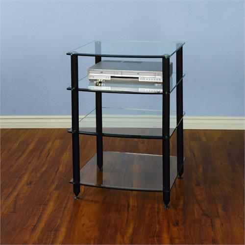 View a large image of the VTI 4 Shelf Audio Rack with Glass Shelves Black AGR404B here.