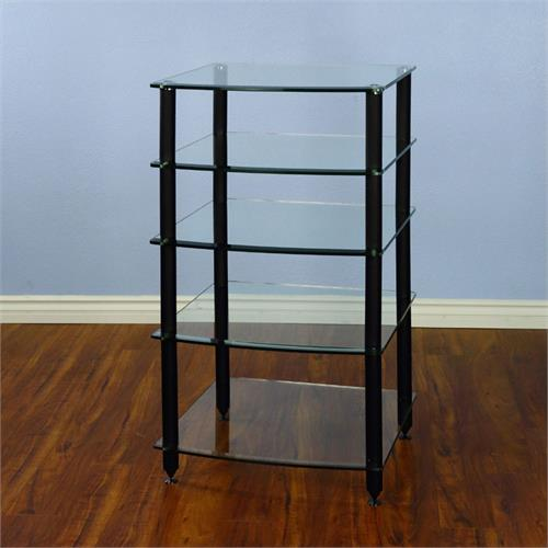 View a large image of the VTI 5 Shelf Audio Rack with Glass Shelves AGR405B Black Poles here.