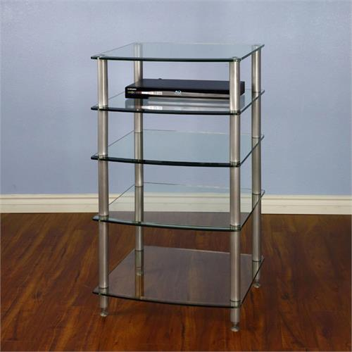 View a large image of the VTI 5 Shelf Audio Rack with Glass Shelves AGR405S Silver Poles here.
