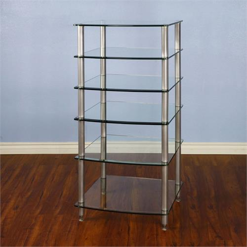 View a large image of the VTI 6 Shelf Audio Rack with Glass Shelves AGR406S Silver Poles here.