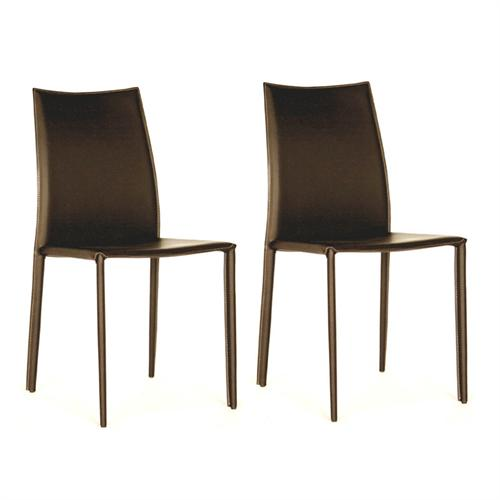 View a large image of the Wholesale Interiors Set of Two Full Leather Dining Chairs Brown ALC-1025 BROWN here.