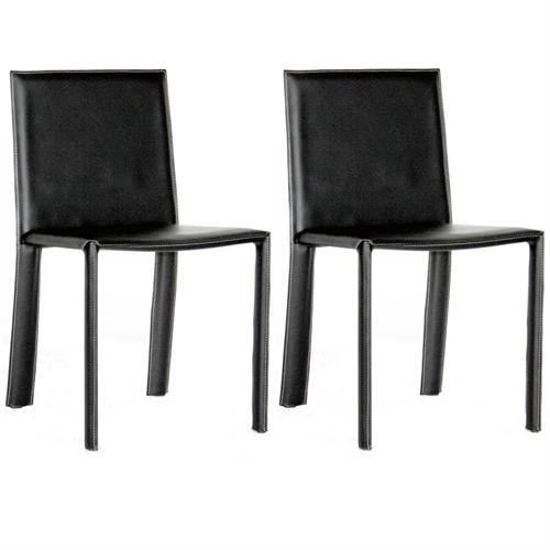 View a large image of the Wholesale Interiors Set of Two Full Leather Dining Chairs Black ALC-1037 BLACK here.