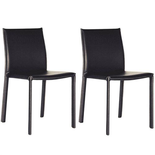 View a large image of the Wholesale Interiors Set of Two Full Leather Dining Chairs Black ALC-1822 BLACK here.