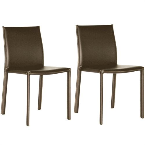 View a large image of the Wholesale Interiors Set of Two Full Leather Dining Chairs Brown ALC-1822 BROWN here.