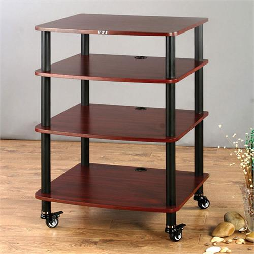 View a large image of the VTI AR Series 4 Shelf Audio Rack Black Poles with Cherry Shelf AR404BC here.