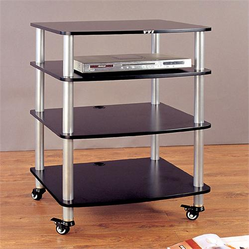 View a larger image of the VTI AR Series 4 Shelf Audio Rack (Silver Poles with Black Shelf) AR404SB.