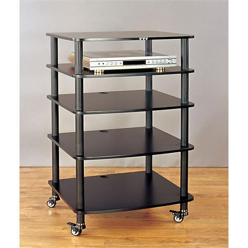 View a large image of the VTI AR Series 5 Shelf Audio Rack Black Poles with Black Shelf AR405BB here.