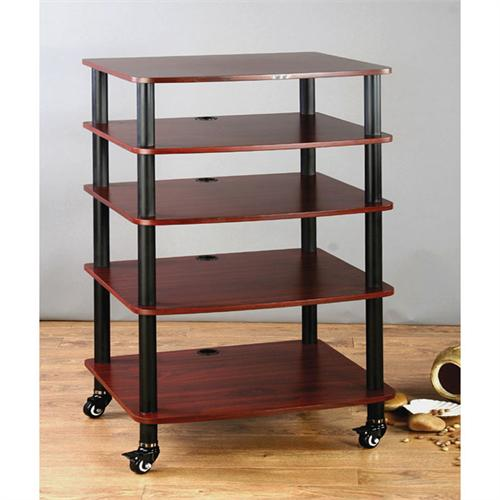 View a large image of the VTI AR Series 5 Shelf Audio Rack Black Poles with Cherry Shelf AR405BC here.