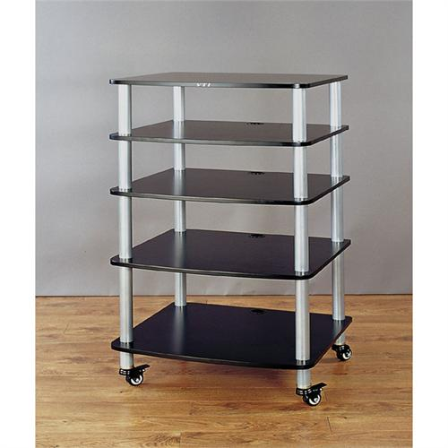 View a large image of the VTI AR Series 5 Shelf Audio Rack Silver Poles with Black Shelf AR405SB here.