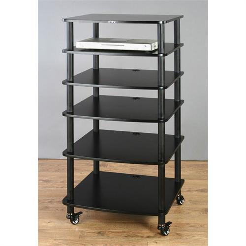 View a large image of the VTI AR Series 6 Shelf Audio Rack Black Poles with Black Shelf AR406BB here.