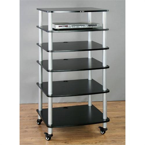 View a large image of the VTI AR Series 6 Shelf Audio Rack Silver Poles with Black Shelf AR406SB here.