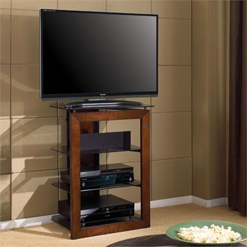 View a large image of the Bello Solid Wood Front Audio Video Tower with Tinted Glass Shelves Caramel and Black AT306 here.