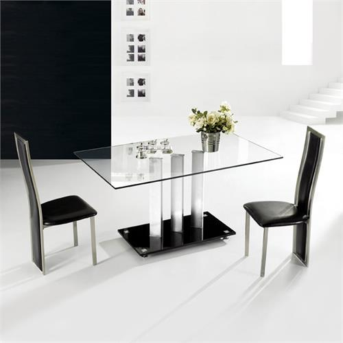 View a large image of the TransDeco Rectangular Clear Glass Dining Table with Black Glass Base AT-590C here.