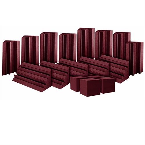 View a large image of the Auralex Acoustics ATOM12 Bass Trap System with Cornerfill Cubes Burgundy ATOM12BUR here.