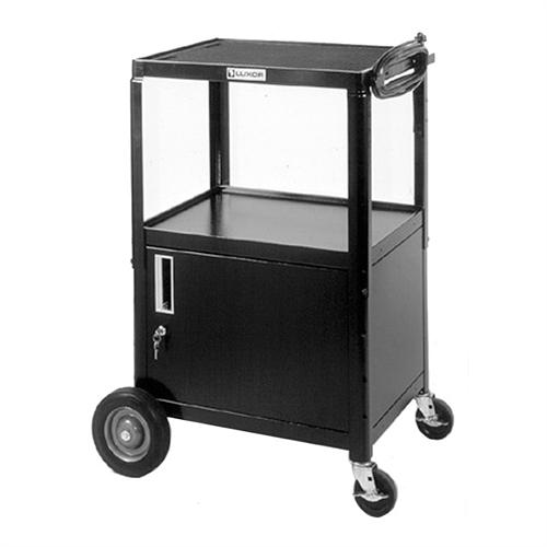 View a large image of the Luxor Adjustable Height AV Cart with Cabinet and Big Wheels Black AVJ42BC here.