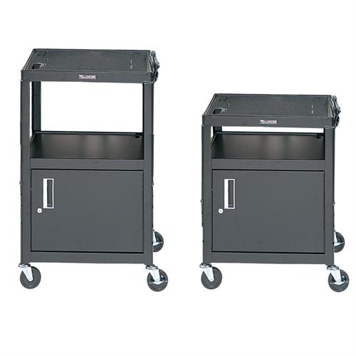 View a large image of the Luxor Adjustable Height AV Cart with Cabinet Black AVJ42C here.