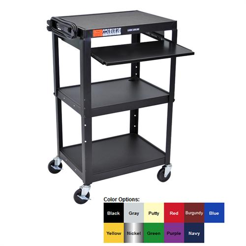View a large image of the Luxor Adjustable Height AV Cart with Keyboard Shelf Various Colors AVJ42KB here.