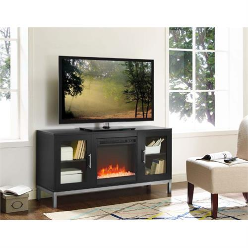 View a large image of the Walker Edison Avenue Fireplace TV Console Black W52FP18AVSB here.