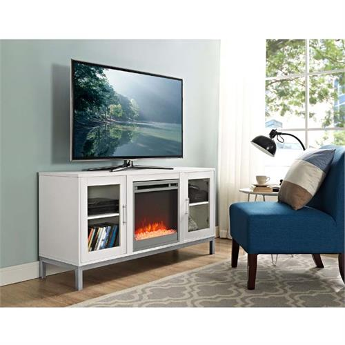 View a large image of the Walker Edison Avenue Fireplace TV Console White W52FP18AVWH here.